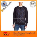 Custom plaid design cotton thick fleece pullover sweatshirts for men