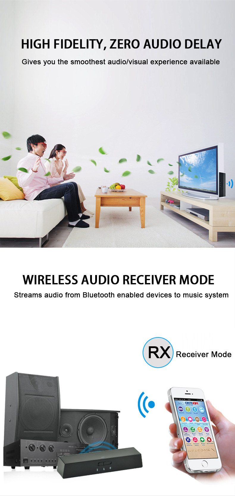 BT Transmitter and Receiver with Double Mode aptX low latency