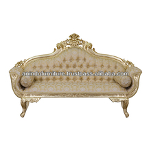 Gold Painted Bridal Sofa with Flower Upholstered