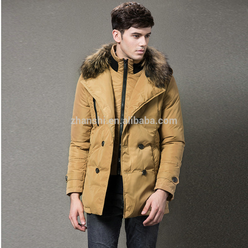 2016 Newest Custom European New Style Men Goose Down Jacket With Fur