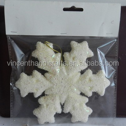 Plastic white glitter snowflake hot sale Christmas ornaments