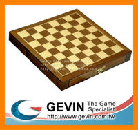 "10"" Hand Carved Wooden Magnetic Walnut Chess Board / Case / Box Game Set with Double Drawers - chess box"