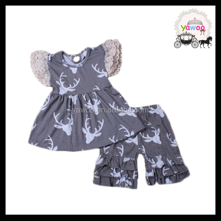 2016 yawoo cute baby girls deer patterns lace flutter sleeve tops triple ruffle shorts unique baby cotton summer clothes