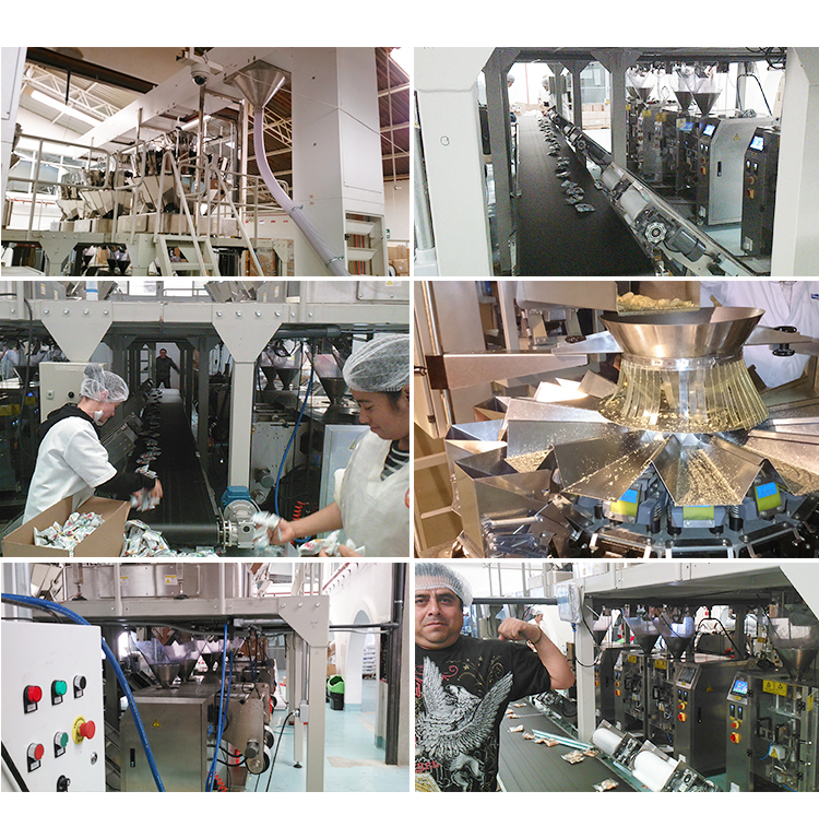 Model V520 CE approval vertical form fill seal packing machine with multihead weigher for pasta foods in stand up pouch