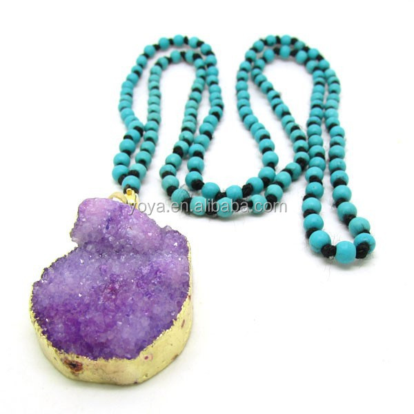 NE2276 Fashion colorful turquoise beads knotted purple druzy necklace