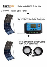 Solarparts Standard Kits 200W DIY RV/Boat Kits Solar System 100W flexible solar panel+controller+cable outdoor light led module.