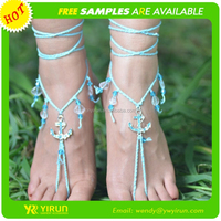 Latest design fashion sandals cotton bead crochet anchor barefoot sandals wholesale