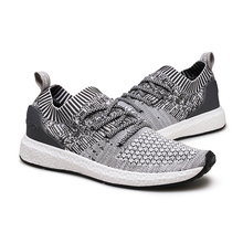 2017 Latest design adults fly knit fabric running sports shoe for men