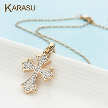 1 PCS Cross Design Gold Plated Pendant Necklaces Shiny Austrian Crystal Chains Necklace Women Jewelry Gifts