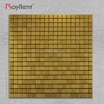 Wholesale interior decoration wall tile aluminum Self Adhesive gold mosaic tile 5mm