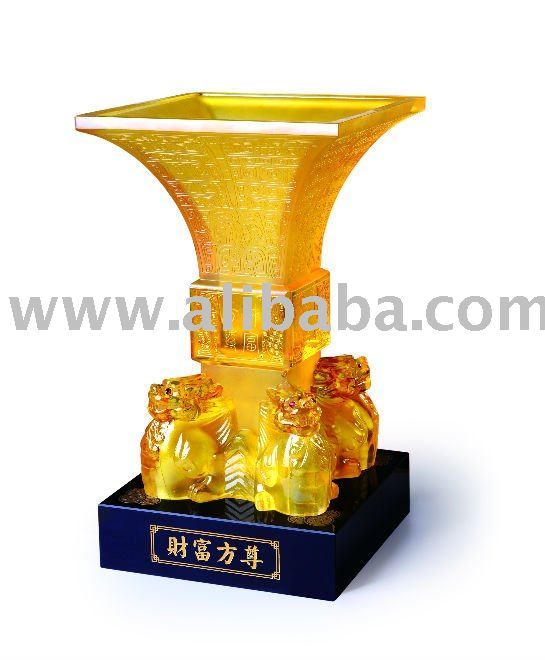 Wealth Square Cup Crystal Glass Liuli Feng Shui Business Gift Hot Item New