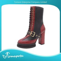 Women black with red ostrich look pu leather patchwork lace up mid calf boots platform block heel boots