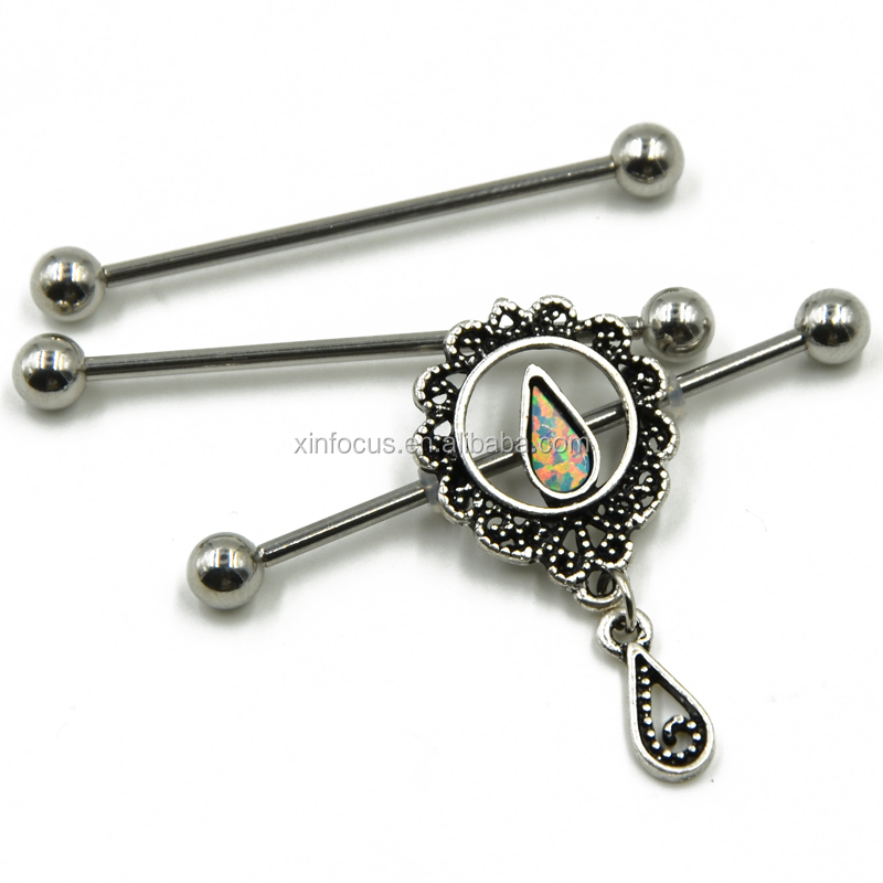 Opal Water Drop Flower Percing Industrial Barbells Ring
