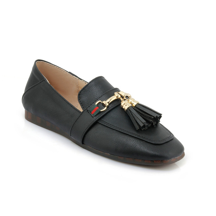 Women PU Leather Ballet Flats Shoes With Tassel