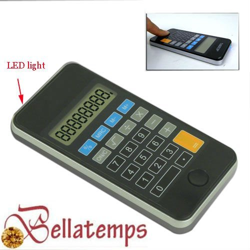 Pocket calculator with LED light