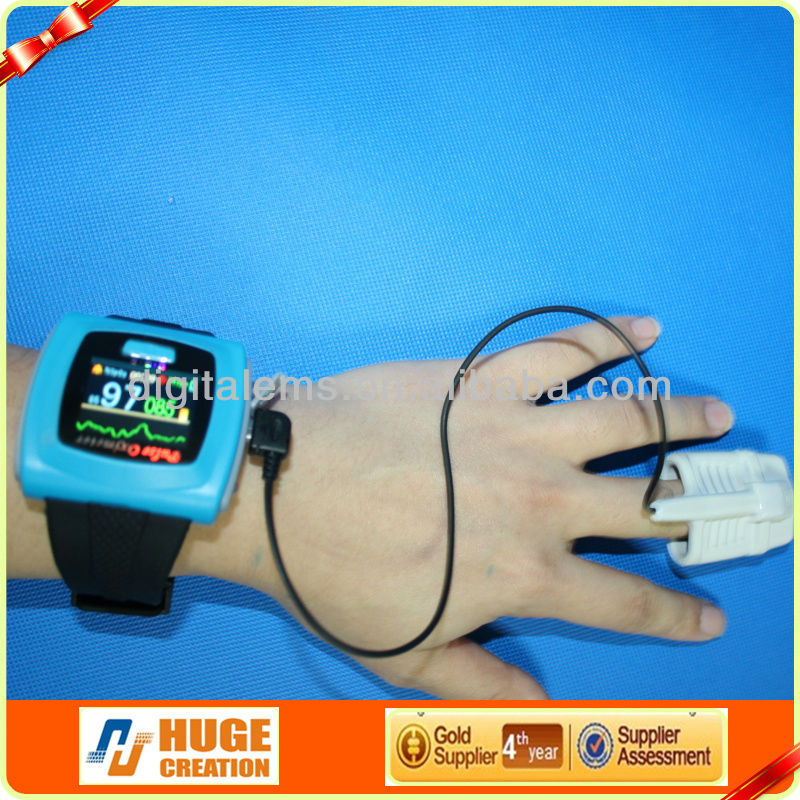 hot selling wrist type Pulse Oximeter with wireless function with LCD display and low battery indication
