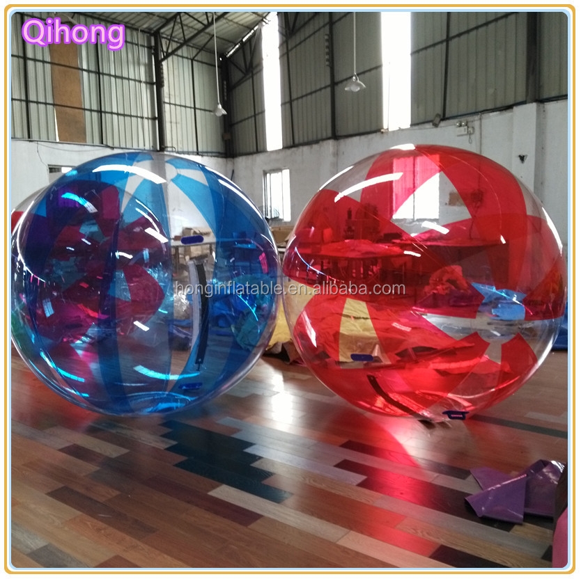 Customized colorful inflatable floating water walking ball, inflatable bubble water ball, human hamster water balls
