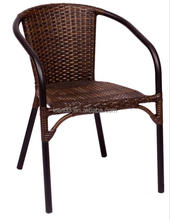 Stacking outdoor restaurant woven plastic PE wicker dining chair