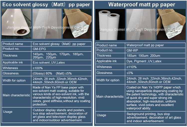 Eco solvent & Waterproof PP paper (With or without adhesive)