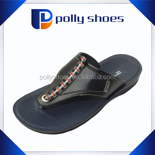 PU sole summer new design thong leather flat sandals