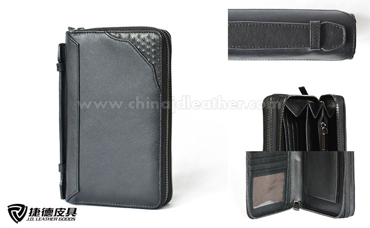 Zipper Around Multipurpose Wristlet Wallet for Men with Cell Phone Pocket