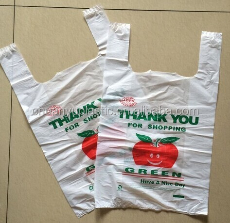 hdpe plastic t-shirt packaging bags on roll/custom printed plastic shopping bag