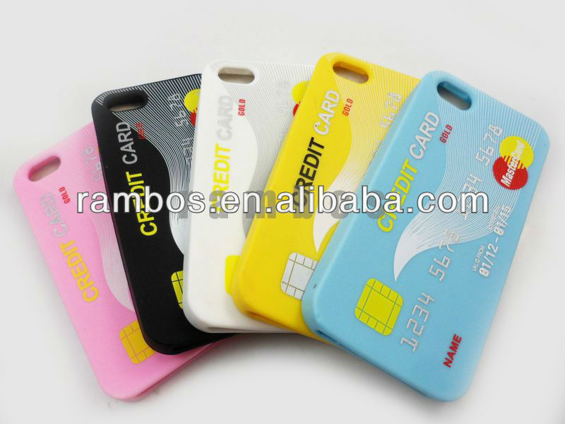 For Apple iPhone 5 Rubber Silicon Soft Gel Skin Case Phone Cover with Credit Card Surface