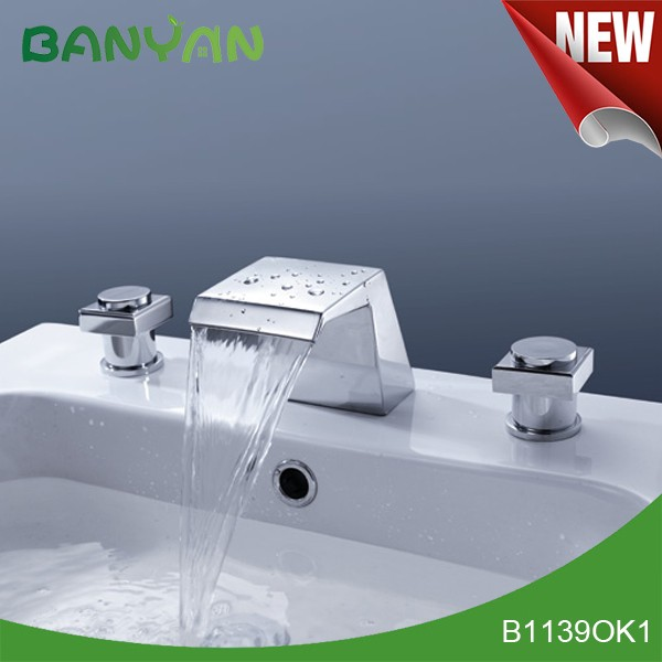 Economic chrome waterfall wash basin faucet