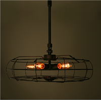 Industrial loft style Black iron Electrial fan pendant light with cladding