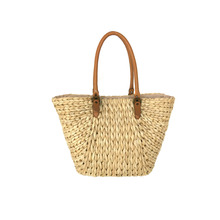 CORN STRAW BEACH BAG WITH PU STRAP.HANDMADE BAG