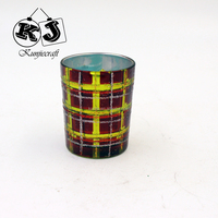 New designed funny hand painted glass candle holder
