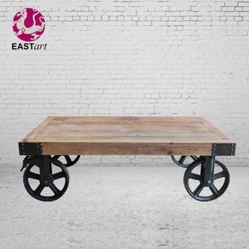 Coffee Table with Wheels Industrial Furniture
