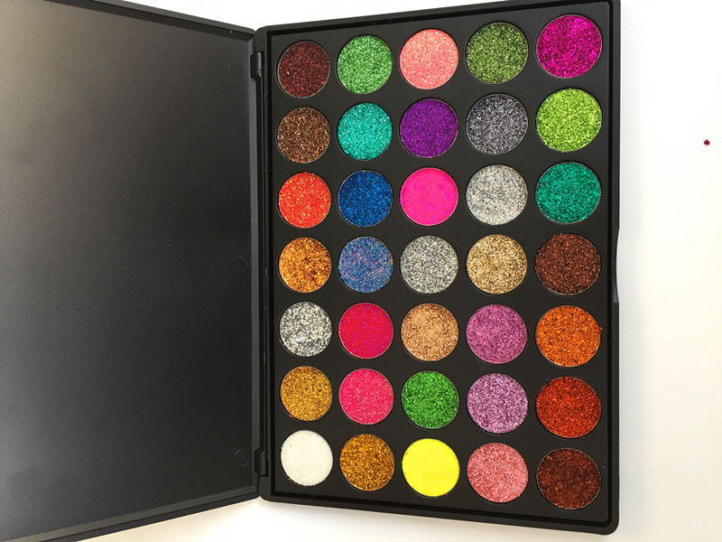Makeup Wholesale High pigment  private label colorful  30 vegan pink pressed glitter eyeshadow palette