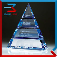 Color printing crystal pyramid trophy for islamic gift
