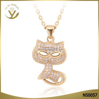 Simple gold cat pendant necklace jewelry high quality AAA zircon necklace jewelry for woman