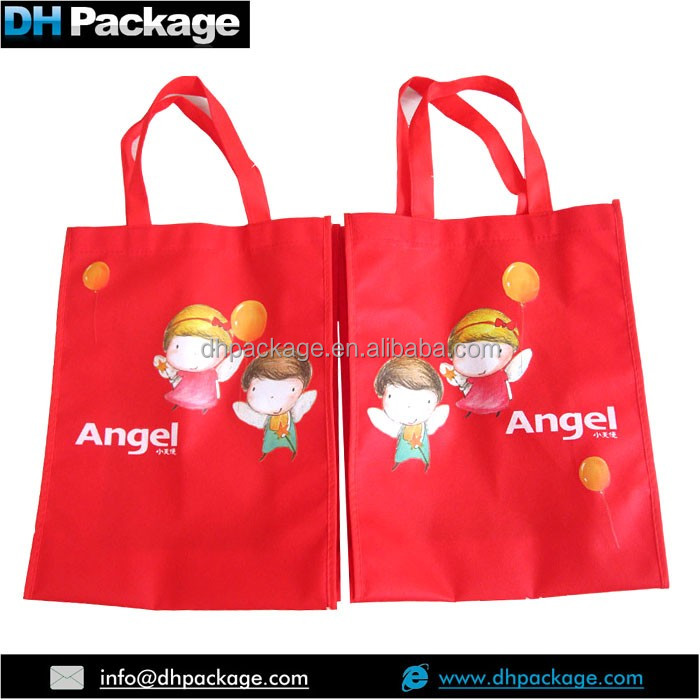 HEAT TRANSFER PRINTING XMAS RED REUSABLE SHOPPING GIFT BAGS IN CHINA