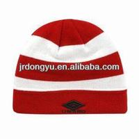 mens red & white stripe knitting beanie hat