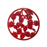 Round Cast Iron Trivet Red for Kitchen Dining Metal Trivets