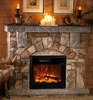 Polystone Mantel Electric indoor & outdoor Fireplace