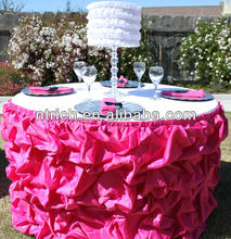 luxurious satin table skirting designs for wedding,gathered table skirts,ruffled table cloth