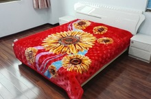 2ply Weft Knitted Flower Printed 100% Woven Acrylic Blanket