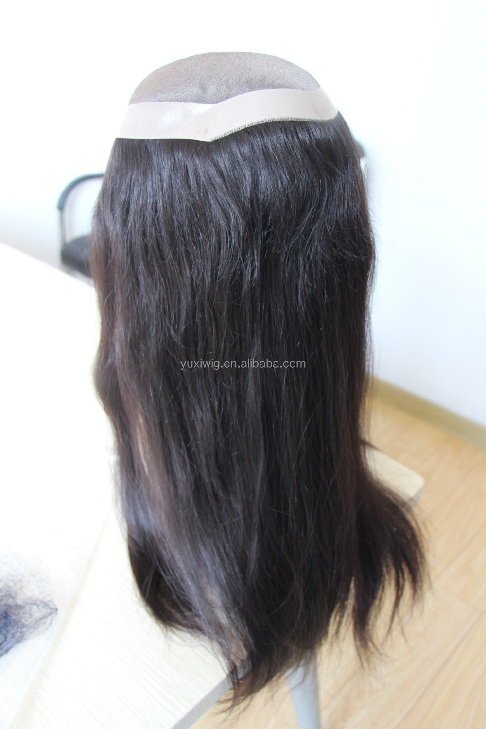 2016 New Super Thin Skin Human Hair Toupee lace with Mono +PU