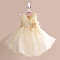 unikids 2015 New Fashion Summer Clothing Baby Girls Sleeveless Children dress,Wedding Party Kids Costumes Flower Belt Hot sellin