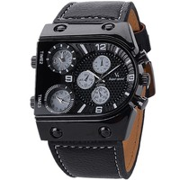 Japan movement genuine leather band time zone Super MAN Luxury BRAND V6 Watch Retro Quartz Relogio Masculion For Gift