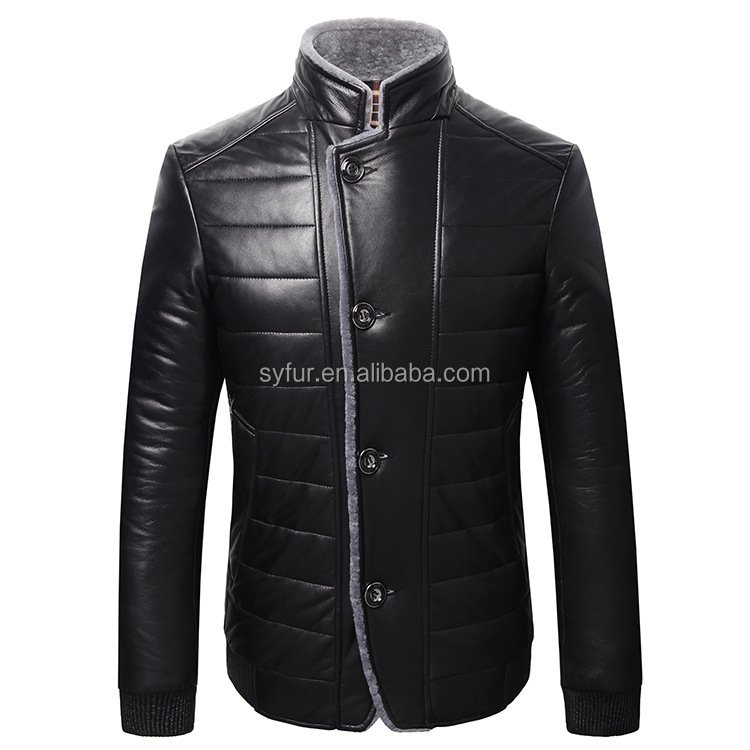Man's double faced sheep fur leather jacket and winter genuine sheepskin leather coat with fur collar