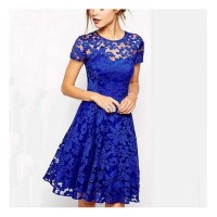 WAT1413 women cheap fashion dress short sleeve blue lace dress 2016