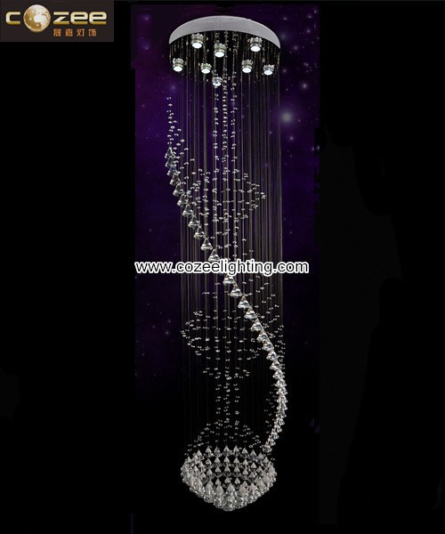 Large Big Hotel Crystal Stairs Pendant Hanging Chandelier Lamp Light Lighting for High Ceiling CZ8115/8