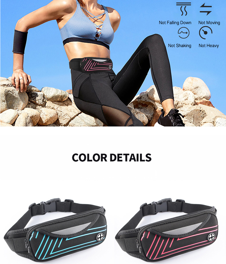 High Quality Unisex Canvas running belt      waist bag fashion  high elastic stretch waist bag running   sport fanny pack