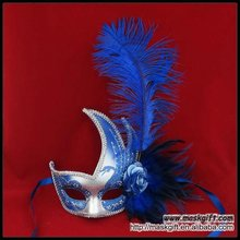 2012 Maskgift wholesale Blue and silver popular item feather party mask in mask factory