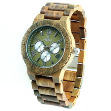 2018 Men's Quartz Wrist Watches Custom Chronograph Green Wood Watch